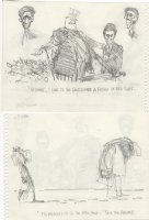 OLIPHANT, PATRICK - Political cartoon sketch, WC Fields as Uncle Sam, Reagan budget 8 by 6 1984 Comic Art