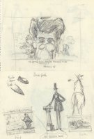 OLIPHANT, PATRICK - Political cartoon DBL sketch, Reagan's mind battle + Reagan vs Lincoln speech Comic Art