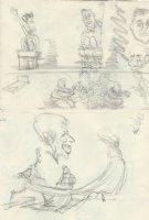 OLIPHANT, PATRICK - Political cartoon DBL sketch, Reagan & Mondale + regal PM Margaret Thatcher Comic Art