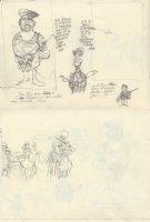 OLIPHANT, PATRICK - Political cartoon DBL sketch, Reagan compares Latin American rebels + WC Fields as Uncle Sam Comic Art