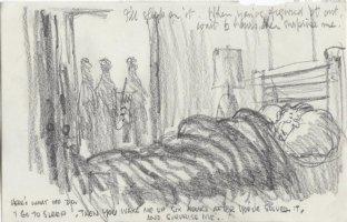 OLIPHANT, PATRICK - Political cartoon sketch, Reagan bedtime: PATKO strike & N Korea 1981 Comic Art