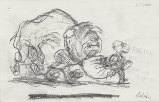 OLIPHANT, PATRICK - Political cartoon sketch, PM Begin & DM Sharon as rabid dog 1983 Comic Art