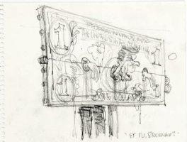 OLIPHANT, PATRICK - Political cartoon sketch, Reagan betrayed by Stockman, 8 by 6 1981-85 Comic Art