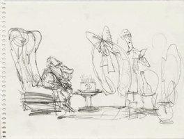 OLIPHANT, PATRICK - Political cartoon sketch, Nixon's 10th, 8 by 6 1984 Comic Art