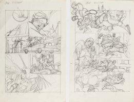 KANE, GIL - Marvel Team-Up #4 full-size prelim story pgs 15-16, X-Men vs Morbius '72 Comic Art