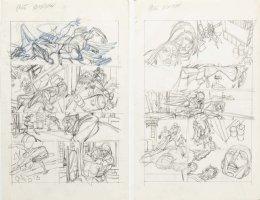 KANE, GIL - Marvel Team-Up #4 full-size prelim story pgs 17-18, X-Men vs Morbius '72 Comic Art
