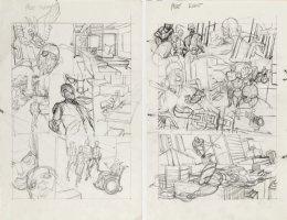 KANE, GIL - Marvel Team-Up #4 full-size prelim story pgs 7-8, Beast quits X-Men + Spider-Man '72 Comic Art