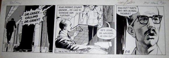 ADAMS, NEAL - Ben Casey daily, 5/11 1966,  Calling Dr Casey!  Comic Art