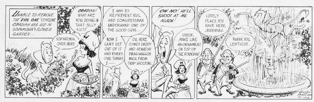 MORTIMER, WIN - Ben Franklin political daily 1972 Comic Art