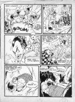 GIUNTA, JOHN / FRAZETTA assists - Captain Marvel Jr #3 2-up page, fight - 1943 Comic Art